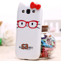 New arrival  Cartoon Leopard Pattern TPU Soft cover Flowers bowknot Case for Samsung Galaxy S3  1pcs i9300 Free shipping