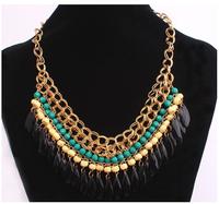 2013 New Layered Bohemian Tassels Fringe Drop Vintage Gold Choker Chain Neon Bib Statement Necklace Fashion Jewelry For Women S8
