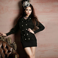 2013 new winter long lotus Victorian double silver buckle Slim Jacket