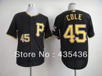Free shipping Pittsburgh Pirates #45 Gerrit Cole Black Authentic Embroidery and stitched onfield Cool Base Baseball Jersey