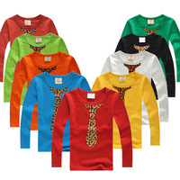 Free Shipping 2013 autumn baby child boys clothing leopard print tie slim elegant long-sleeve T-shirt YZ20a