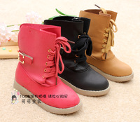 Short in size child winter boots female child cow muscle outsole fashion plus velvet medium-leg boots snow boots