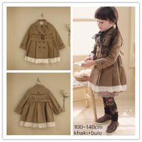Best quality 2013 new designer  khaki bule baby girl solid princess skirt  girls Dust  coat kids jacket, children clothing