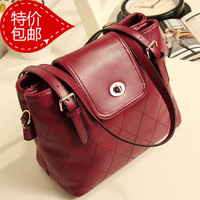 2013 spring new arrival female red plaid Wine bucket bag one shoulder cross-body handbag women's handbag