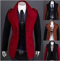 3115#2014 New Hot fashion Men's Casual Double-breasted Slim hit the color design Men's Coat Outerwear