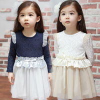 Free Shipping 2013 autumn children's clothing butterfly sleeve lace child baby female child long-sleeve dress YZ10h