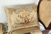 """A Pair Free Shipping Hand Woven Wool Aubusson Tapestry Pillow Cover - Blue Cream 22""""x14"""" Houseware"""