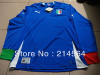 NEW SEASON!!! Italy Home Long sleeve Soccer Jersey 13/14,Embroidery Logo Thailand Quality Soccer Shirt+free Shipping