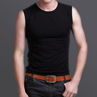 Wide shoulder vest male summer tight-fitting 100% cotton sports fitness male underwear full 100% cotton sleeveless t kaross