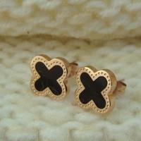 Black Soft Enamel clover 18K rose gold plated titanium stud earrings for women  gold plate gifts