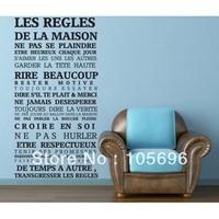 75*150cm NEW France Home rule wall decor decals home stickers art vinyl Murals Fr11 LES REGLES