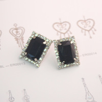 Wholesale NEW Resin 2pcs/lot Fashin Earrings make with Austira Rhinestone rectangle shape Popular stud earrings hot sale