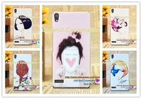 10 pcs,Free shipping,High quality Beautiful Pretty girl Cartoon Rose Case Pattern Protective Plastic Case for HUAWEI P6