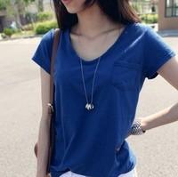 Blusas Femininas New Direct Selling Pockets 2014 Women's Summer Loose Solid Color Pocket Short-sleeve V-neck T-shirt Female