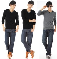 100% cotton 2013 Men's Sweater Casual Seamed Knitwear Pure Color fashion long-sleeved sweaters JL127