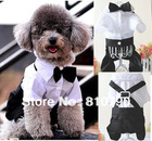 Handsome Formal Dog Jumpsuit with Bow Tie Groom Tuxedo Pet Costumes Dog Clothing 1pcs/lot Free Shipping(China (Mainland))