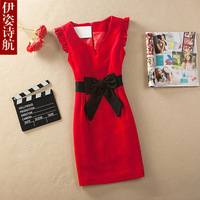 2013 autumn and winter slim ol woolen one-piece dress sleeveless vest basic skirt female plus size