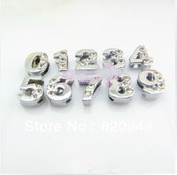 8mm fit wristband pet collar keychain zinc alloy and Half Rhinestone Slide number DIY Accessories