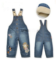 NZ190,Free shipping! brand thicken children warm jeans winter baby pants cotton  infant overalls pants retail