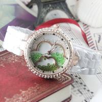 2014 new Hot Sale Brand Fashion Genuine Cow Rubber Women Rhinestone Quartz Wristwatches Women Dress Watches