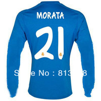 Hot Sell 13-14 Thailand Quality Soccer Jerseys Real Madrid #21 Morata Blue Long Sleeve Jersey 13/14