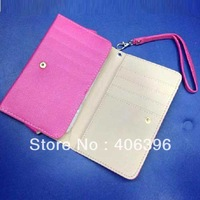 With Button Multi Card Slot Leather Bag Case for Samsung Galaxy Note 3 N9000 With Hand Strap
