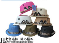 Popular leopard print strap buckle bow straw braid fedoras spring summer strawhat fashion jazz hat hip-hop cap wholesale