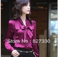 Autumn ol work wear shirt slim female long-sleeve shirt tooling work wear commercial loading female bow