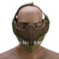 Tactical Hunting Mask Metal Steel Wire Half Face Mesh Airsoft Mask Black Sand Green