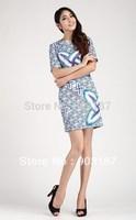 Runway Fashion Wholesale & Retail 2013 women's new Slim printing trade British style dress KC223  Free shipping