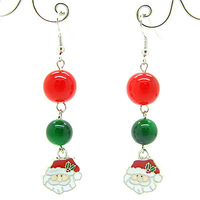 65mm 6pairs Fashion Elegant  Alloy Christmas Jewelry Drop Earrings with Acrylic Beads for Women Gift Free Shipping HC165