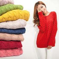 Free Shipping!! 2013 New Arrival Fashion Women Casual Pullover Knitted Sweater for Winter Elegent Loose Design Sweaters