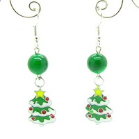 55mm 6pairs Fashion Elegant  Alloy Christmas Jewelry Drop Earrings with Acrylic Beads for Women Gift Free Shipping HC166
