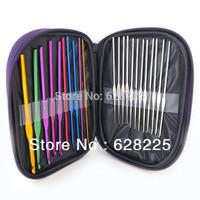 Free Shipping 22pcs/lot Multicolor Aluminum Crochet Hooks Knitting Needles Craft Case Tool Set Drop Shipping