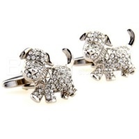 Animals cufflinks, Novelty White Crystal Lovely Dog Cufflinks ZT1973  Crazy Promotion