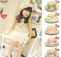 Children soft flower Straw hat with diamond, baby summer flower sun cap, kids topee, baby bucket hat, baby strawhat beach hat