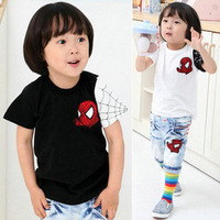 In stock Wholesale 1 lot =  5 pieces 2014 new cartoon tees  children's summer clothing spiderman boys t-shirt girls cool Tees