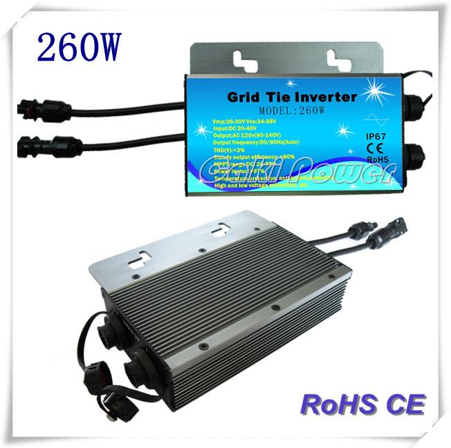 2014 hot Small solar sun power inverter 230W grid tie wind turbine inverter, 260W DC to AC micro inverter solar power 230V(China (Mainland))