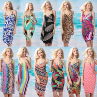 Free Shipping 2013  Fancy deep V-neck sunscreen skirt beach dress beach clothes multi-purpose spaghetti strap one-piece dress
