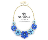 Free Shipping 99 fashion accessories sumni ocean wind blue flower design short necklace ja