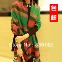 Scarf thermal ultra long yarn plaid cape stripe tassel scarf