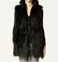 2013 autumn and winter faux fur coat fashion medium-long normic leather vest PC77