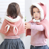 2013 winter infant ploughboys belt rabbit ears cloak cape plus velvet one piece hat cloak 180