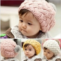 Hot-selling autumn and winter infant boy hat ear protector cap beret baby hat pineapple hat baby knitted hat