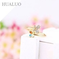 2014 New Arrived Fashion Elegant Drill Rhinestone Double Butterful Drip Oil Ring R710
