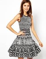 Runway Fashion Wholesale & Retail 2013 Women wholesale spot printing Slim temperament new big swing dress KR044 Free shipping