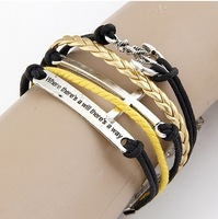 Min.order is $12 (mix order) Fashion Anchor long cross licensing  bracelet