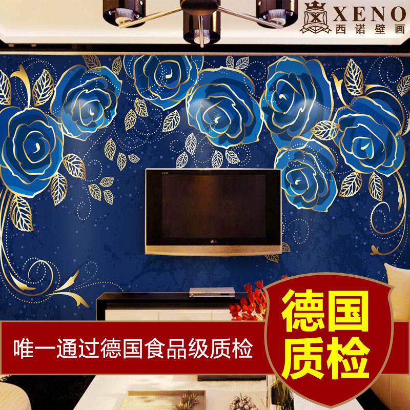Blue Rose Vintage Wallpaper Wallpaper tv Sofa Bedroom Wall Romantic Fashion Wallpaper Rose Vintage