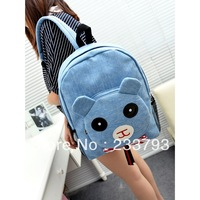 Small fresh preppy style backpack canvas bag laptop bag in primary school students school bag red and blue bag