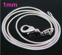 Hot Sale!20pcs 2014 Christmas gift,free shipping,Wholesale Jewelry,silver Fashion Jewelry ,925 Silver 1mm snake Necklace N006